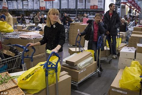 ikea buy store russian shoppers queue to panic buy big ticket items amid fears of rising prices daily mail