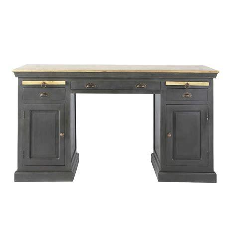 Mango Wood Computer Desk Mango Wood Desk In Black W 144cm Chinon Maisons Du Monde
