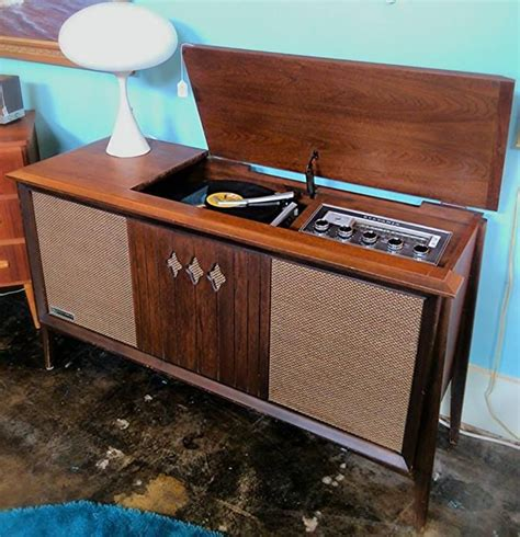 1960 s sylvania walnut am fm stereo record player cabinet