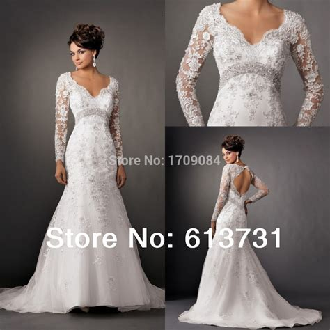 Aliexpress Buy 2014 Mermaid Bridal Gowns Crew 2014 New Fashion V Neck Sleeves Lace Appliques