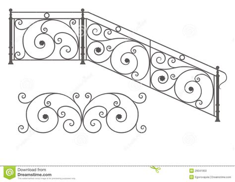 Rod Iron Banister Vector Wrought Iron Modular Railings And Fences Stock