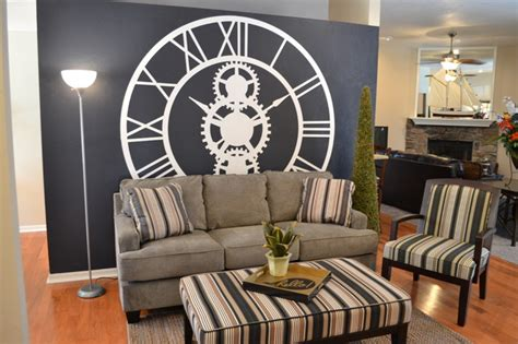 Living Room Clocks by Giant Clock Wall Traditional Living Room Other Metro