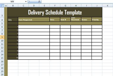 format of delivery schedule template in excel exceltemple