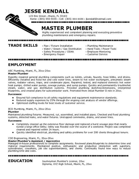 Plumbing Apprentice Sle Resume by Plumbers Cover Letter For Plumber Resumes Career Inspirations