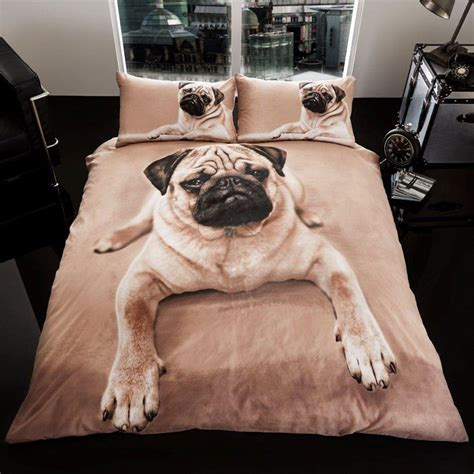 pug puppy duvet cover set new bedding ebay
