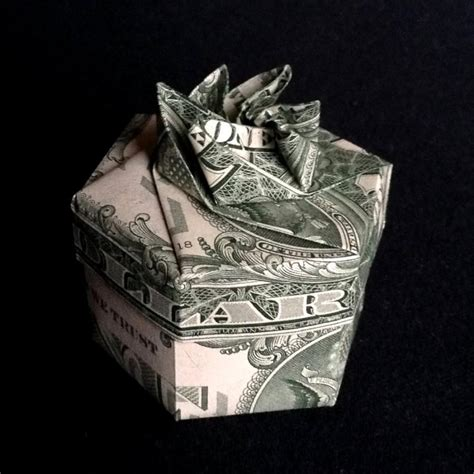 Money Ring Origami - gift box hexagonal ring box with lid for rings money