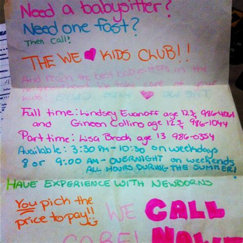 babysitting poster examples google search fun crafts