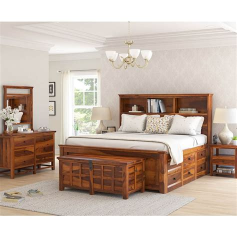 mission modern solid wood king size platform bed pc bedroom set