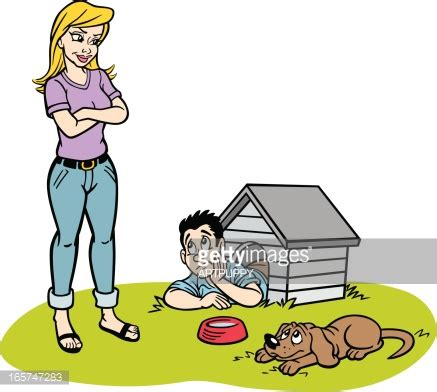dog pees in the house man in the doghouse cartoon vector art getty images