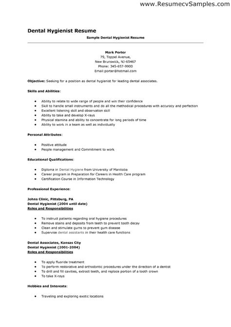 resume sle dental hygienist resume sle free dental hygienist resume objective free