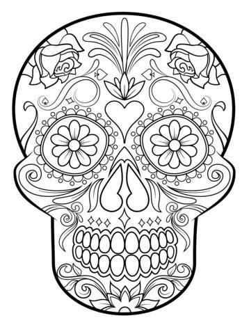 sugar skull coloring page pdf sugar skull coloring page from sugar skulls category
