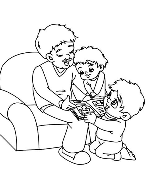 family reading coloring page best dad reading story time coloring pages best place to