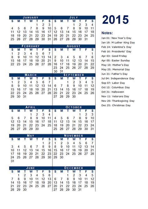 2015 yearly calendar template 12 free printable templates
