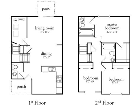 three bedroom townhouse floor plans 3 bedroom 25 bath townhouse