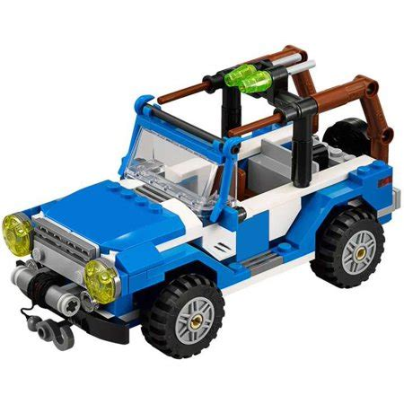 Lego Jurassic Blue White Jeep Vehicle