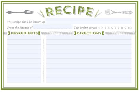 recipe card template word 300 free printable recipe cards