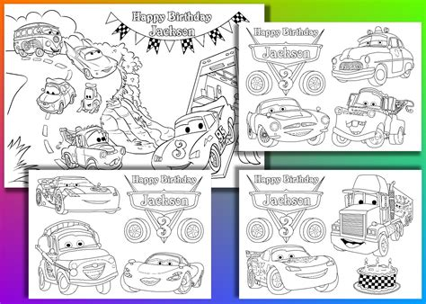 cars birthday coloring pages personalized disney cars birthday party coloring pages
