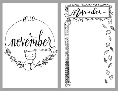 printable monthly journal covers printable november bullet journal setup bullet journal