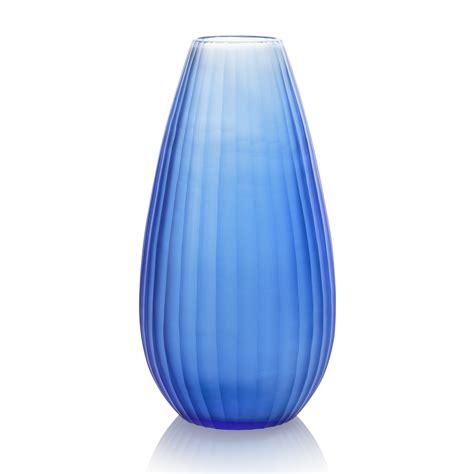 Oliver Bonas Vase by Blue Striped Cut Glass Vase Oliver Bonas
