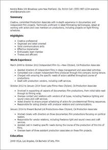 Television Production Manager Sle Resume by Professional Production Associate Templates To Showcase Your Talent Myperfectresume