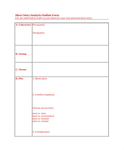 story outline template for story outline template 6 free word pdf document