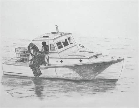 maine lobster boat painting by alan mager - Lobster Boat Drawing