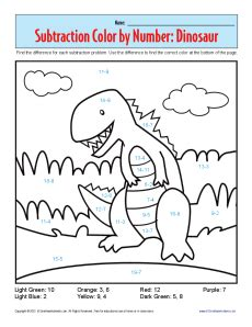 color subtraction dinosaur color by numbers printable