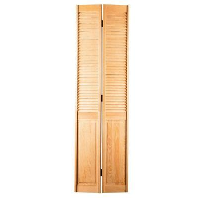 Louvered Doors Home Depot Interior 36 In X 80 In Smooth Half Louver Unfinished Pine Interior Closet Bi Fold Door 96119 The Home