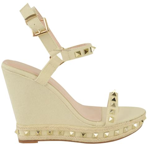summer wedge sandals womens studded wedge sandals strappy platforms