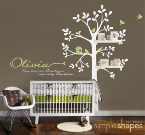 nursery shelves shelving tree nursery wall decal aftcra