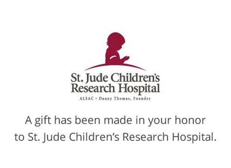 Honor Printable Cards St Jude Children S Research Hospital Donation Has Been Made In Your Name Template