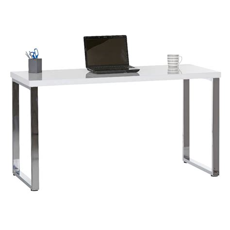 Furniture White Rectangle Computer Desk With Chrome Loop
