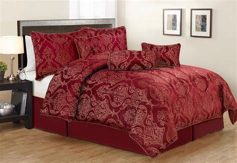 7 piece queen carrie burgundy jacquard comforter set ebay