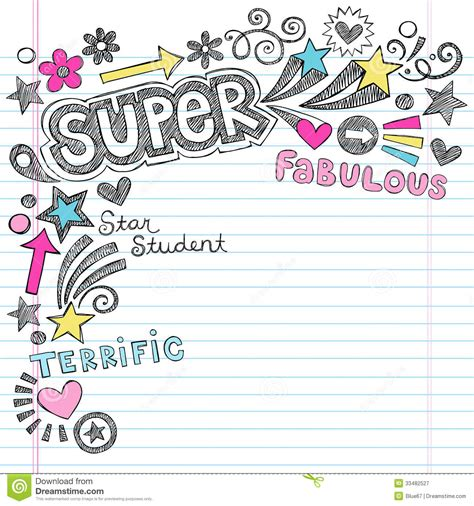 free doodle powerpoint template student praise back to school notebook doodl royalty