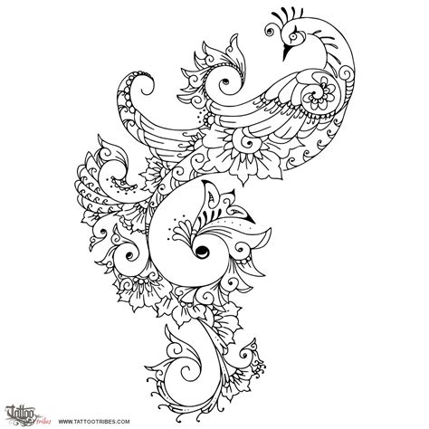 henna tattoo design peacock of mehndi style peacock