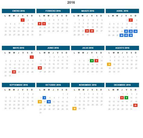 Calendario 2017 Con Sus Feriados Feriados 2016 Thinglink
