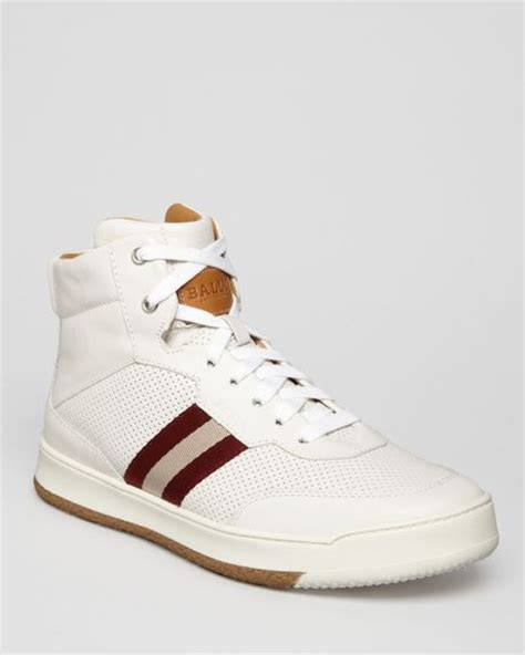 high top bally sneakers bally webbing high top sneakers in white for lyst