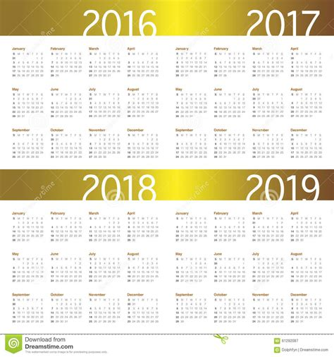 Svensk Kalender 2018 Calendar 2016 2017 2018 2019 Stock Photo Image 61292087