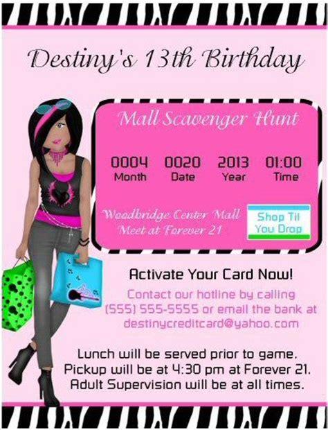 mall scavenger hunt birthday invitation diy jpeg file or