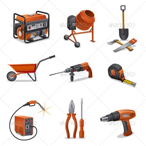 tattoo equipment rental construction tools icon set graphicriver