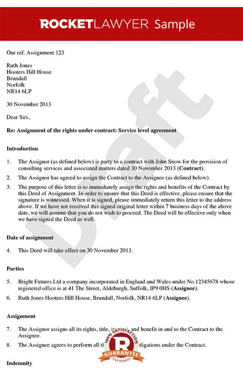 Contract Change Letter Sle Letter Assigning A Contract Deed Of Assignment Of Contract