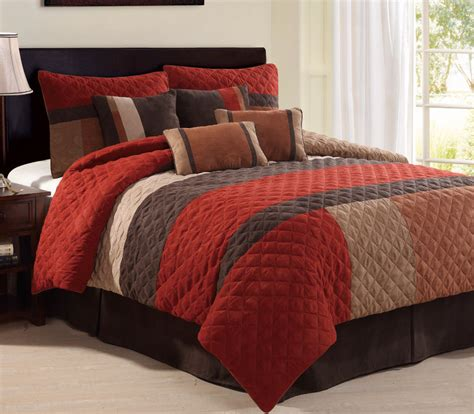 red and brown comforter set modern red tan brown quilted geometric medallion pleated