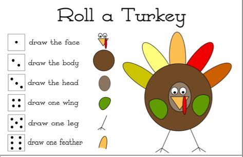 printable roll a turkey roll a turkey a thanksgiving activity sunbeam singing