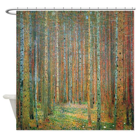 art curtains gustav klimt pine forest shower curtain by iloveyou1