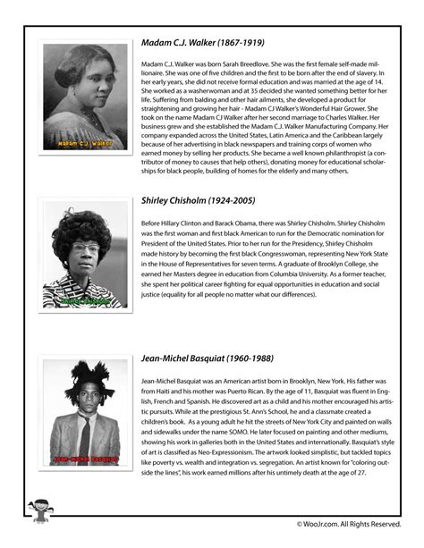 printable art history test black history month bios walker chisholm basquiat woo