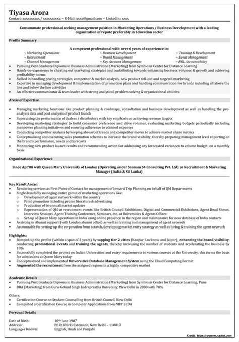 resume format for mba in marketing 1st year mba resume