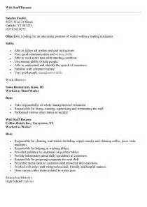 Waitress Resume Responsibilities by Waiter Description Resume Sles