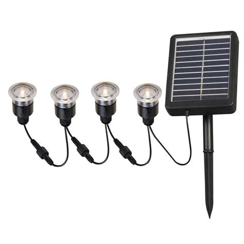 Solar Outdoor Lights Home Depot Kenroy Home 2 In Outdoor Solar String Black Deck Light 4 Pack Hdp12011 The Home Depot