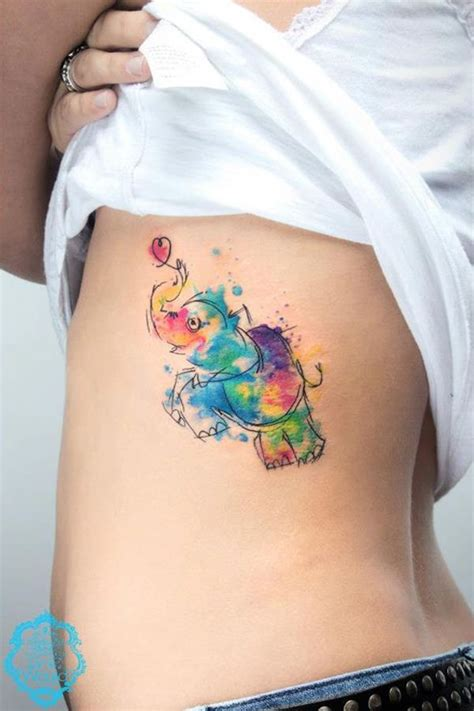 creative tattoos for people who love elephants rainbow
