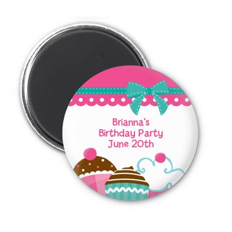 Magnet Giveaways - cupcake trio personalized birthday party magnet favors